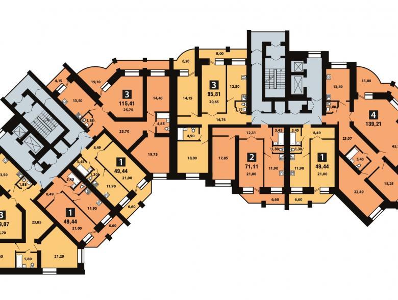 Планировка 10-го этажа - ул. Копылова, д. 5