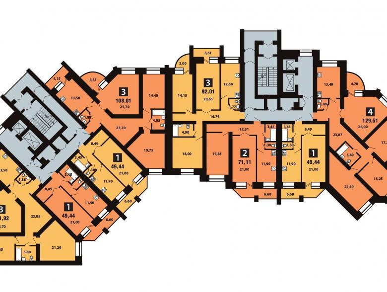 Планировка 5-го этажа - ул. Копылова, д. 5