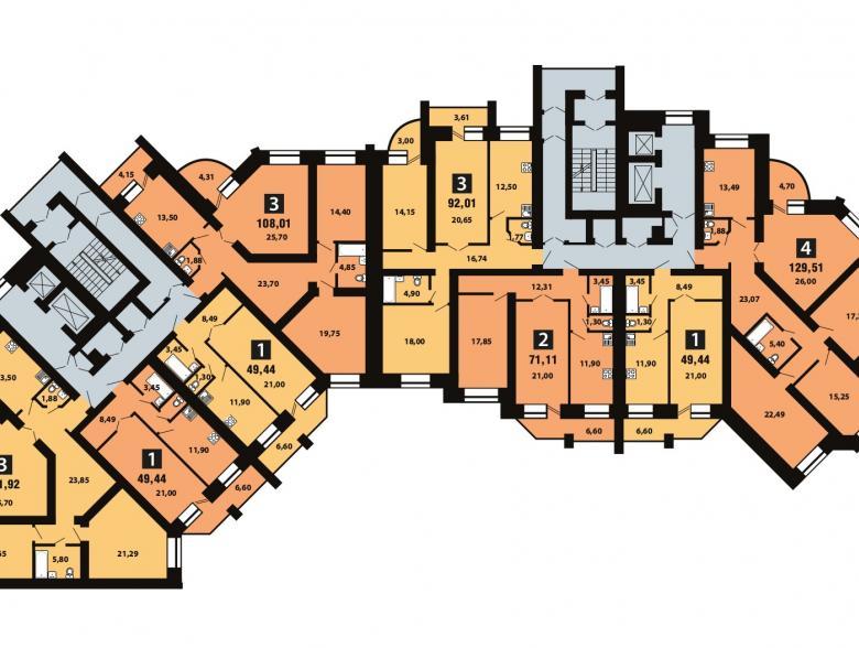 Планировка 6-го этажа - ул. Копылова, д. 5