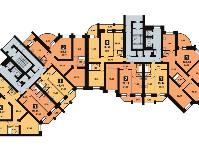 Планировка 8-го этажа - ул. Копылова, д. 5
