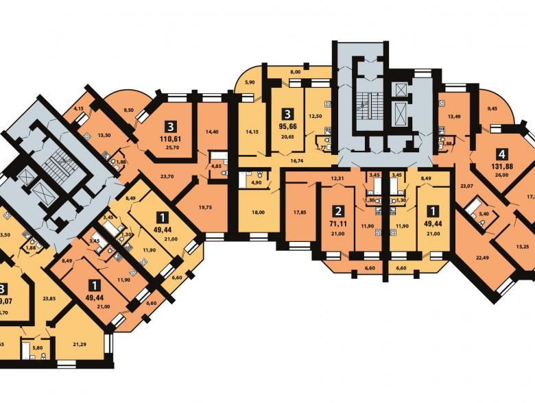 Планировка 9-го этажа - ул. Копылова, д. 5